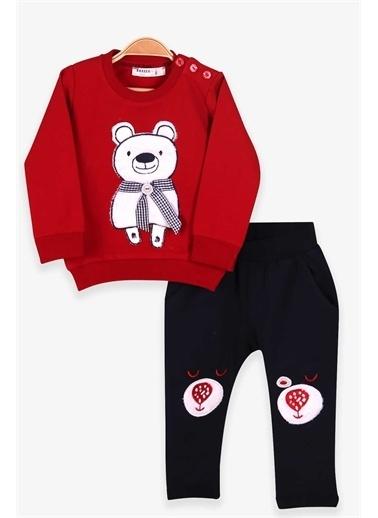 Breeze Erkek Bebek Eşofman Takımı Atkılı Ayıcık Nakışlı Kırmızı  Kırmızı